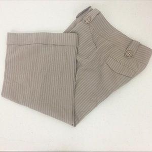 Express Tan & White Striped Cuffed Cropped Pant